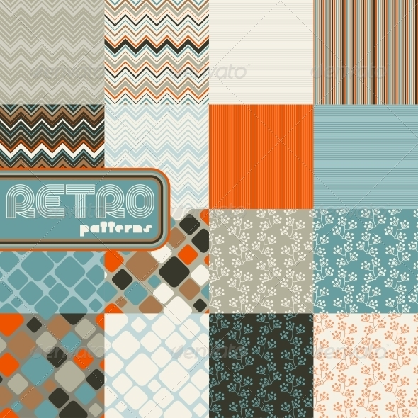 GraphicRiver Set of Abstract Retro Seamless Patterns 3915165