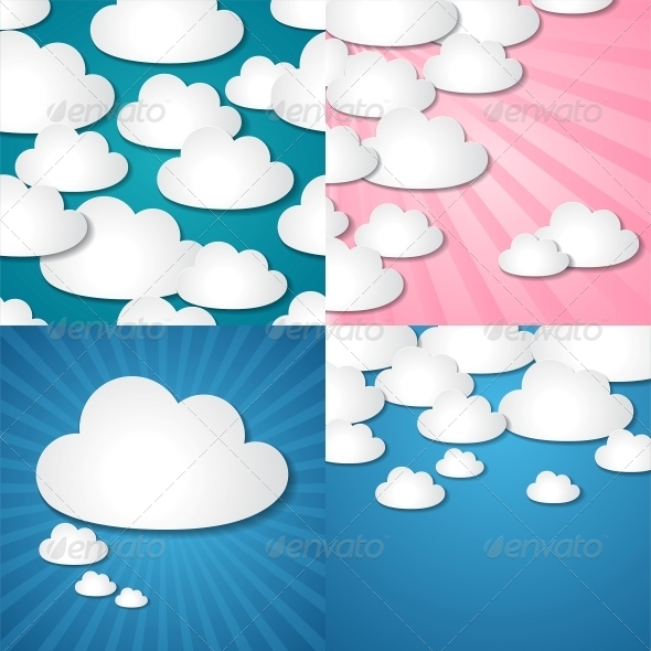 GraphicRiver Paper Clouds Backgrounds 3915197