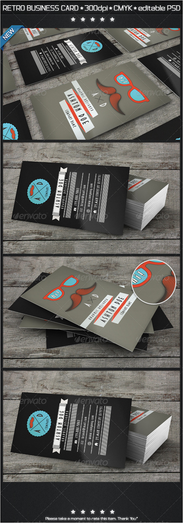 GraphicRiver Retro Mustache Business Card 3915296