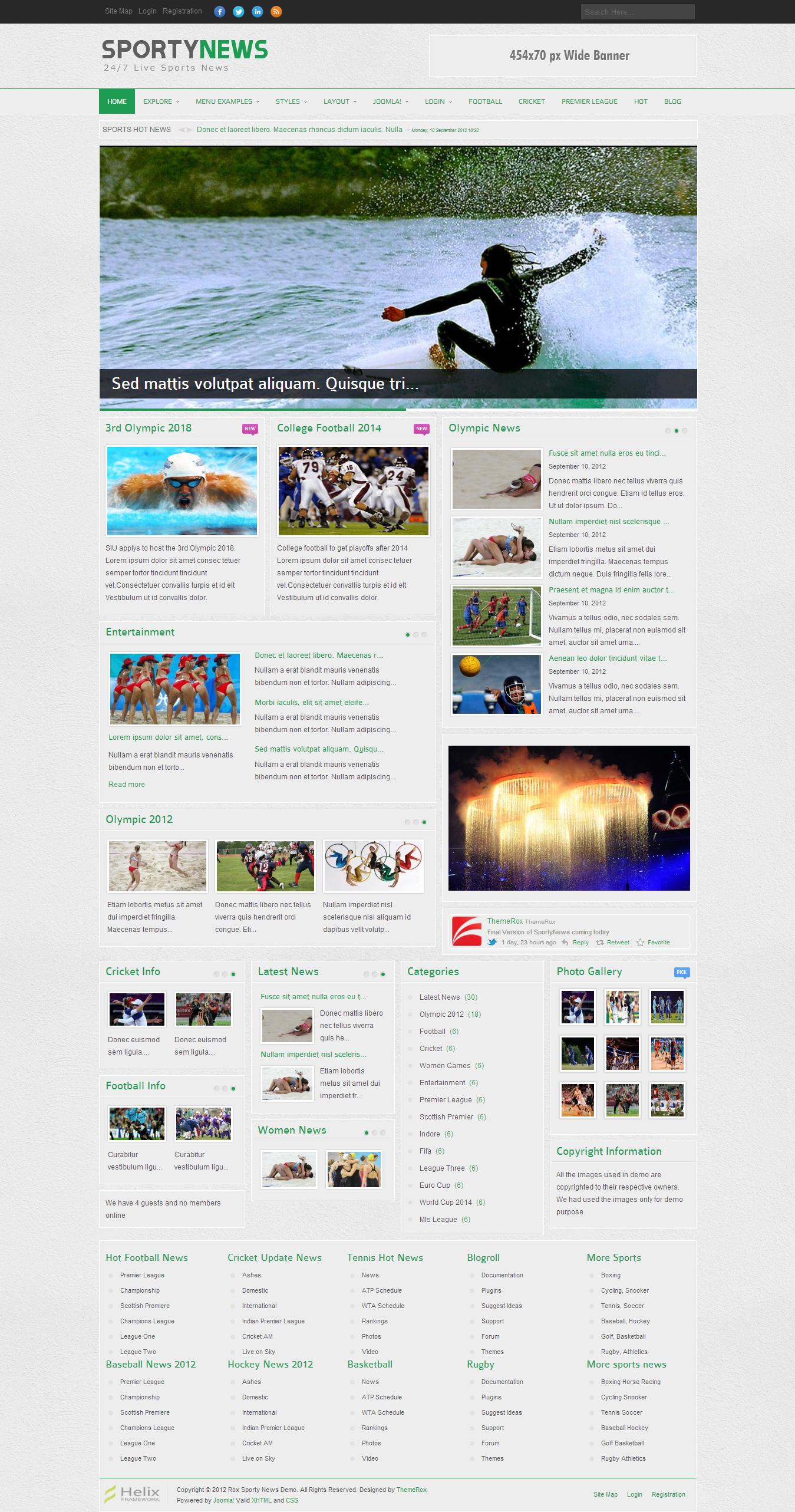 SportyNews Premium Joomla News Template