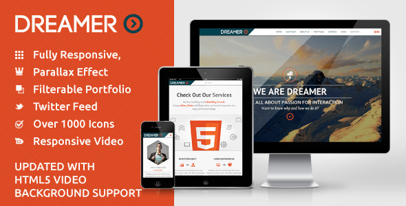 Dreamer - Responsive One Page Parallax Template - Creative Site Templates