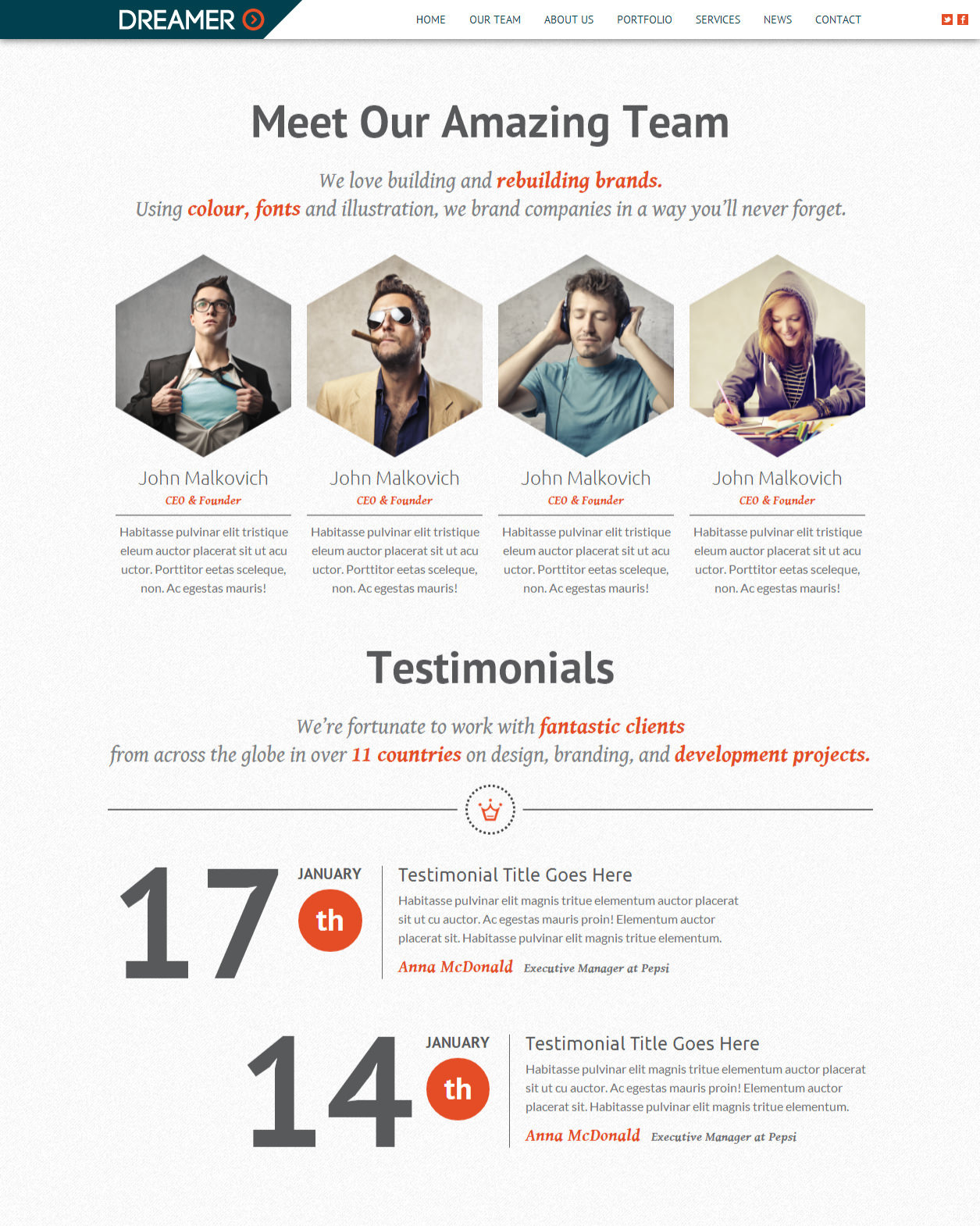 Dreamer Responsive One Page Parallax Template By