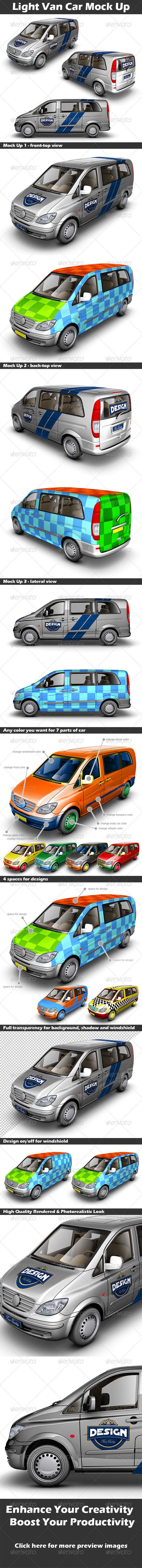 GraphicRiver Light Van Car Mock Up 3916351