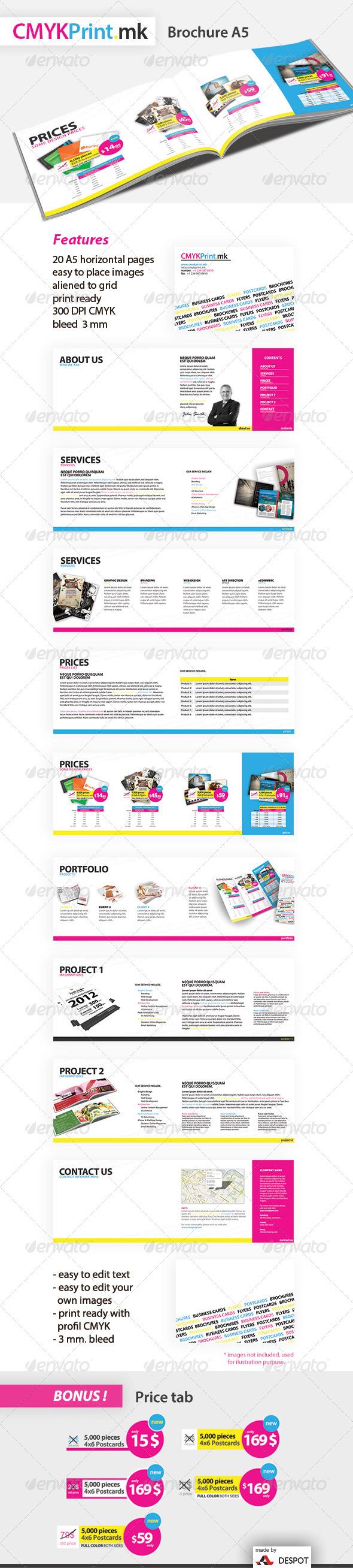 CMYK Print Brochure A5 - Brochures Print Templates