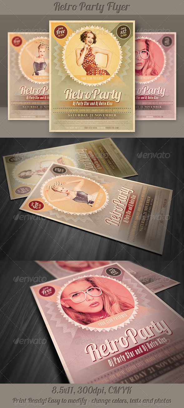 GraphicRiver Retro Party Flyer 3916456 Created: