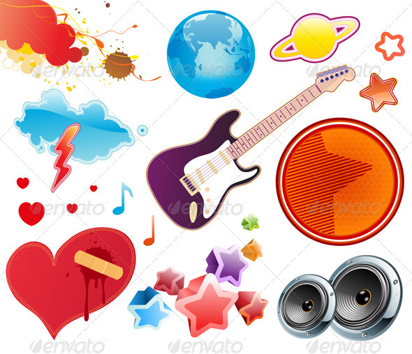 GraphicRiver Summer Music Design Elements 3916694