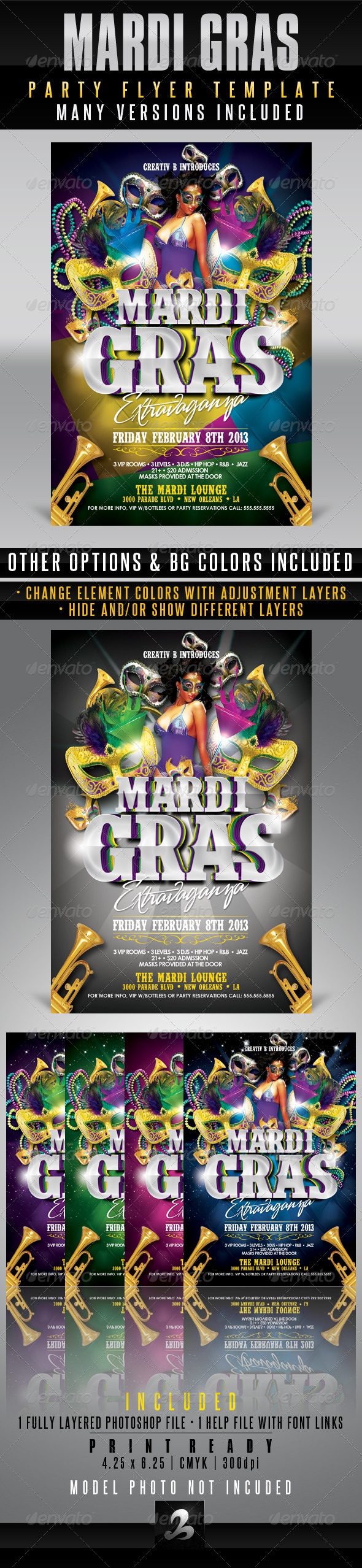 GraphicRiver Mardi Gras Party Flyer Template 3916803