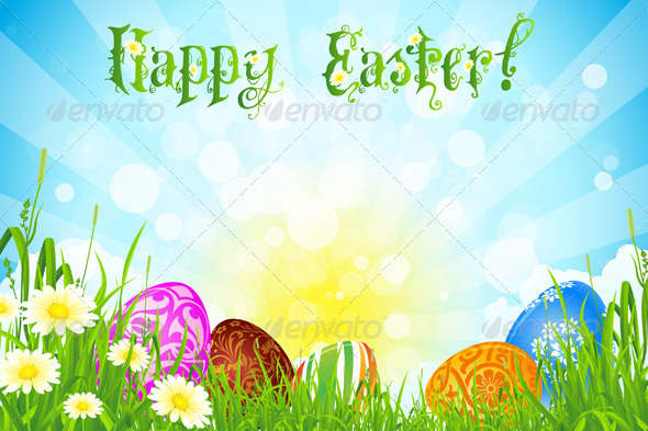 Easter Background with Decorated Easter Eggs - Seasons/Holidays Conceptual