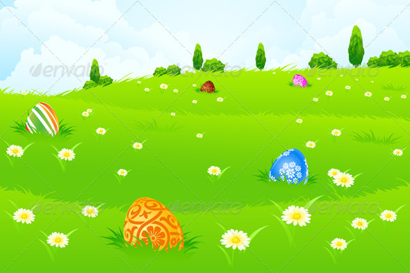 GraphicRiver Green Landscape Background with Easter Eggs 3917017