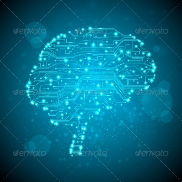 GraphicRiver Circuit Board Form of a Brain 3917348