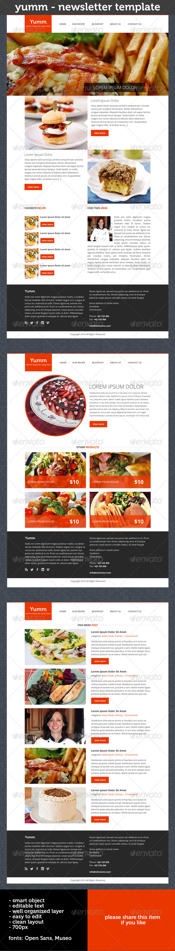 GraphicRiver Yumm Newsletter Template 3918272