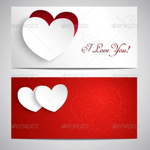 Postcards with Hearts - Valentines Seasons/Holidays