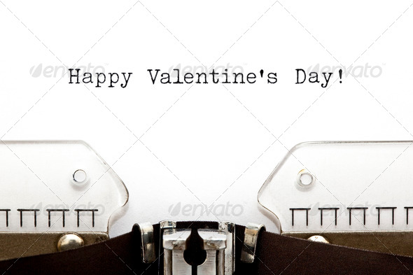 Typewriter Happy Valentines Day - Stock Photo - Images
