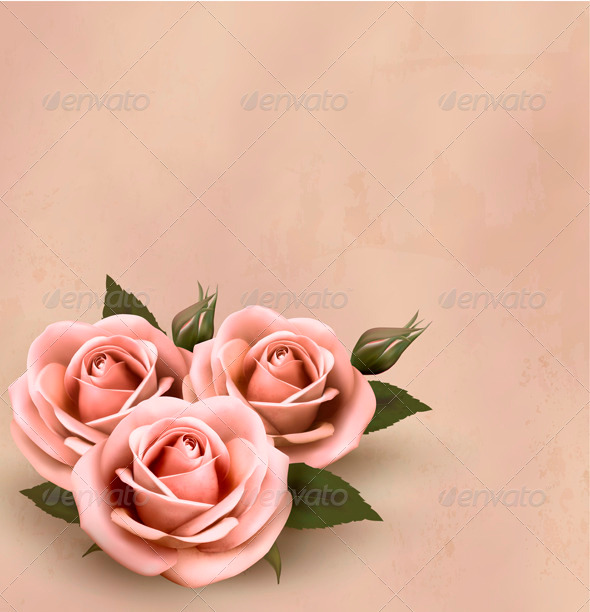 GraphicRiver Retro background with beautiful pink roses 3918727