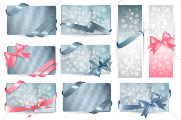 GraphicRiver Set of Beautiful Gift Cards with Color Gift Bows 3918897