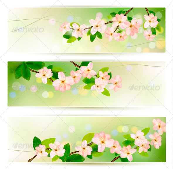 GraphicRiver Three Spring Banners with Blossoming Tree Brunch 3918961