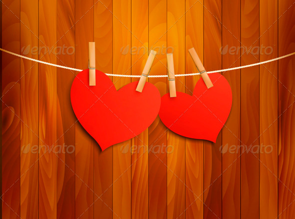 GraphicRiver Two Red Loving Hearts Hanging on a Rope 3919007