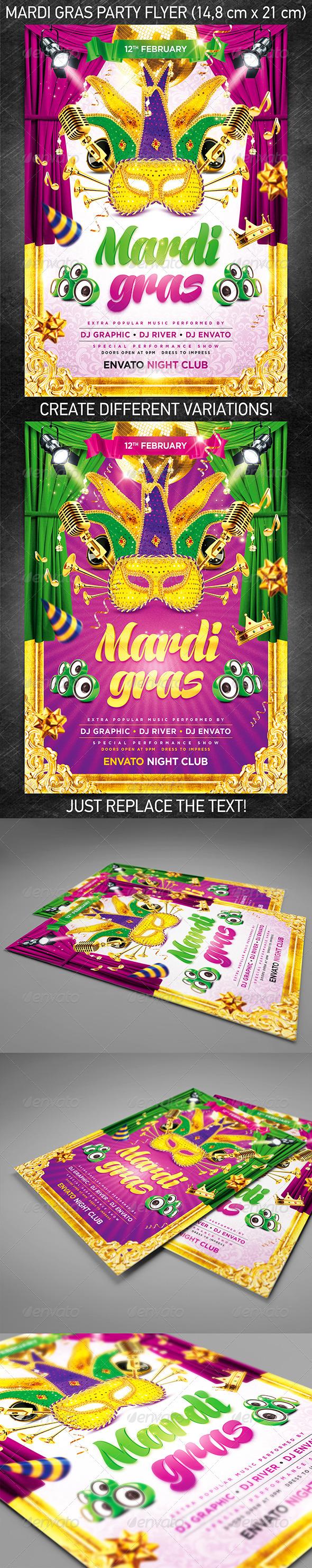 GraphicRiver Mardi Gras party flyer 3838313