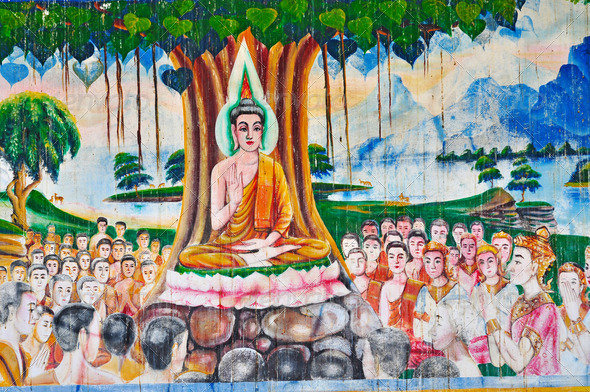 PhotoDune Buddha painting on wall 3919986