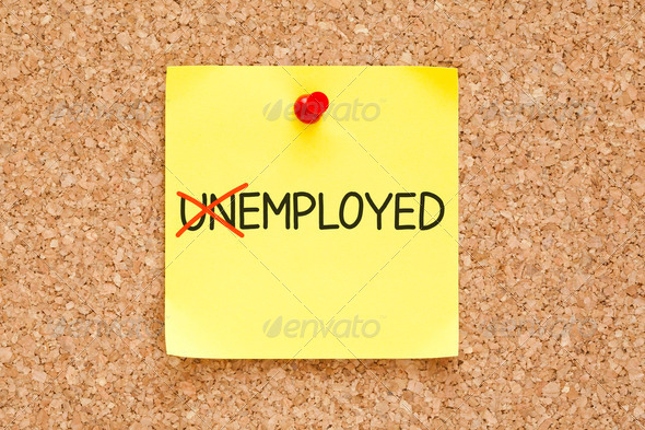 Employed Not Unemployed Sticky Note - Stock Photo - Images