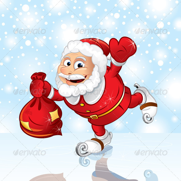 Stock Photography - Skating Santa Illustration Photodune 3921095