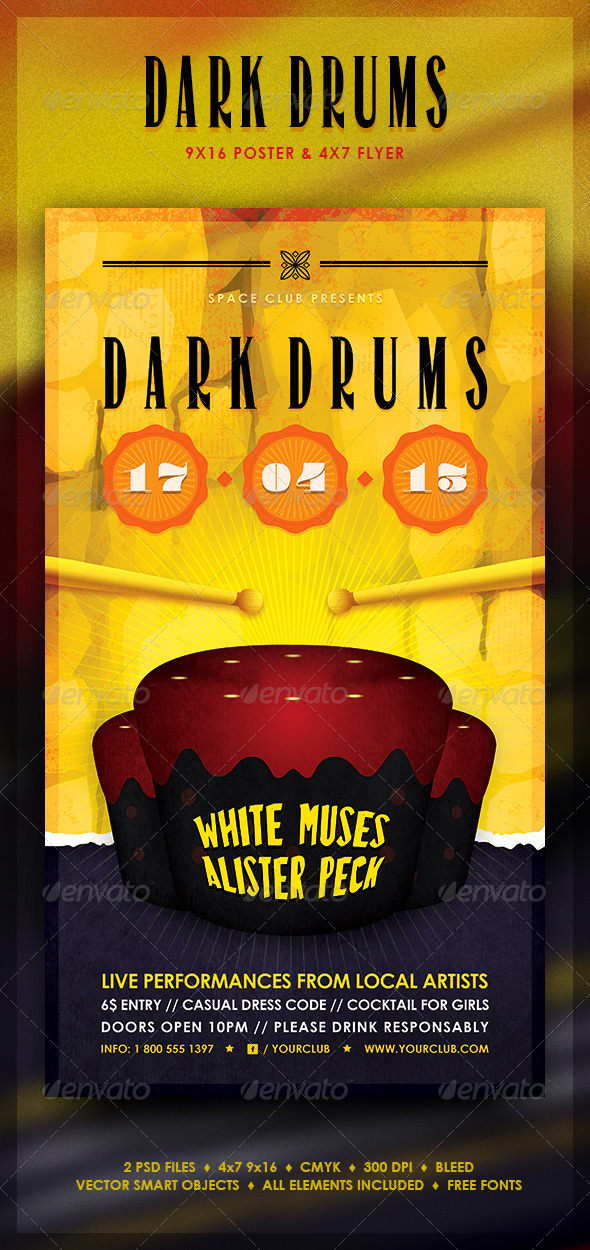 GraphicRiver Dark Drums Poster and Flyer 3921054