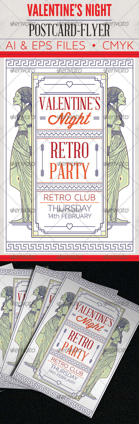 GraphicRiver V-Day Retro Party Flyer Post Card 3921181