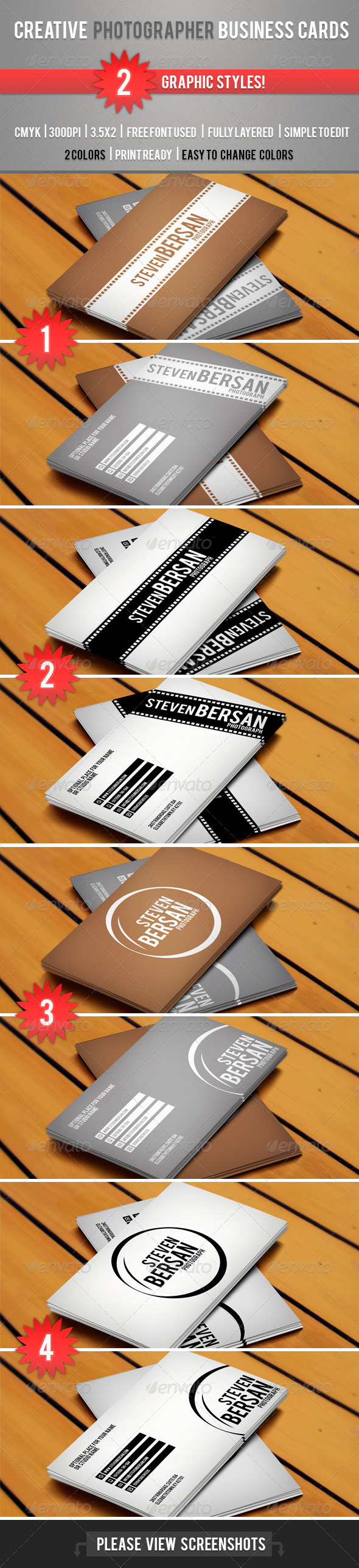 GraphicRiver Photography Business Cards 3921425