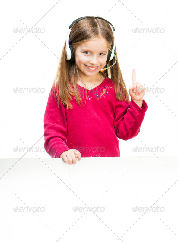 Portrait of girl in headset. - Stock Photo - Images