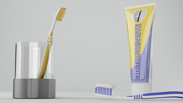 3DOcean Toothbrush And ToothPaste Packshot 3922336