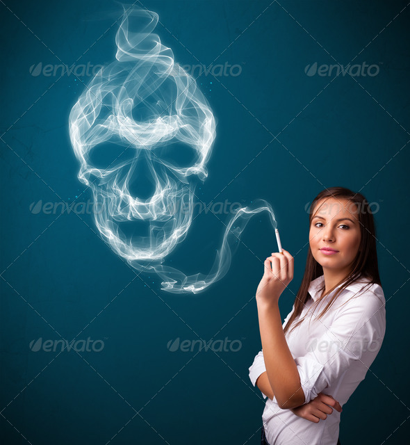 PhotoDune Young woman smoking dangerous cigarette with toxic skull smoke 3923121