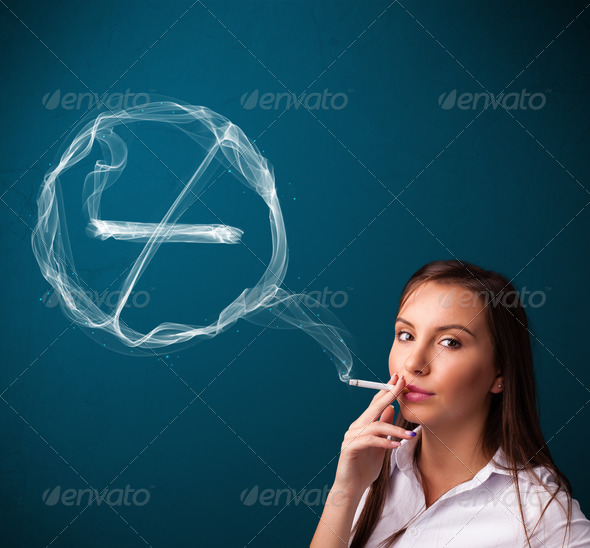 PhotoDune Young lady smoking unhealthy cigarette with no smoking sign 3923122