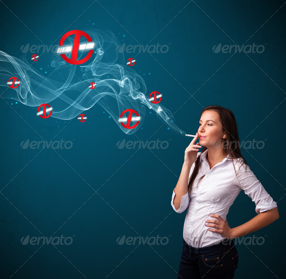 PhotoDune Young woman smoking dangerous cigarette with no smoking signs 3923124