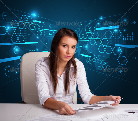 PhotoDune Businesswoman doing paperwork with futuristic background 3923146