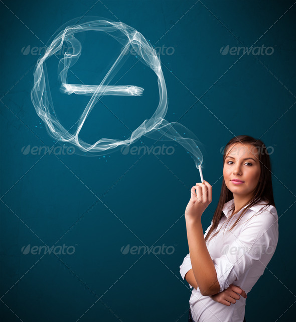 PhotoDune Young lady smoking unhealthy cigarette with no smoking sign 3923147