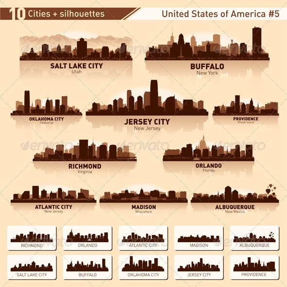 GraphicRiver Skyline City Set 10 Cities of USA #5 3924425