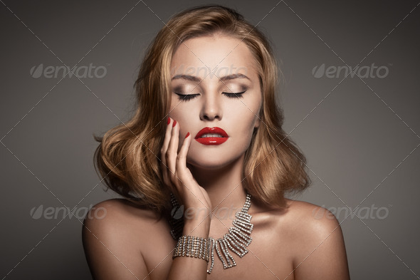 Fashion Portrait Of Beautiful Luxury Woman With Jewelry - Stock Photo - Images
