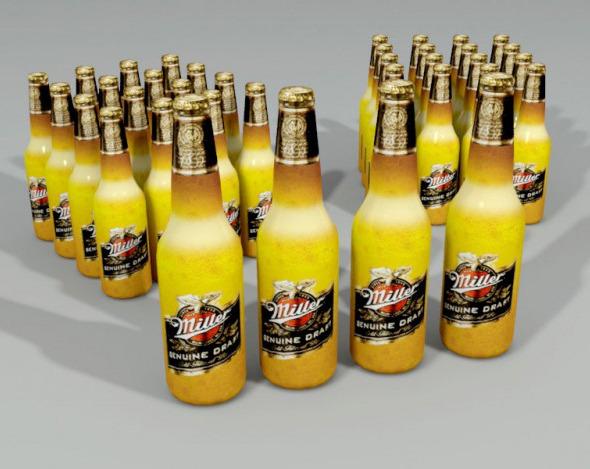 3DOcean Miller Beer Bottle Lowpoly 3924635