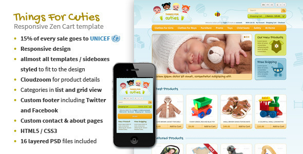 ThemeForest ThingsforCuties Responsive Zen Cart Baby Template 3924721