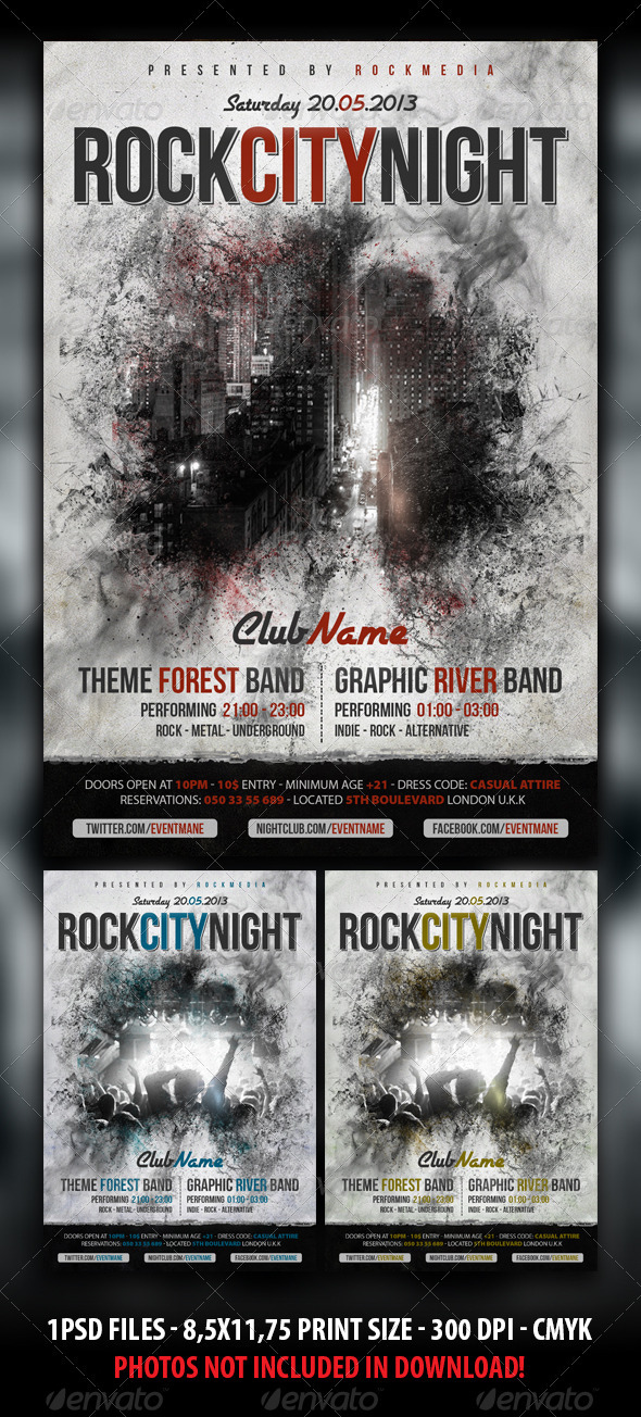 GraphicRiver Rock Concert Party Flyer Poster 3925342