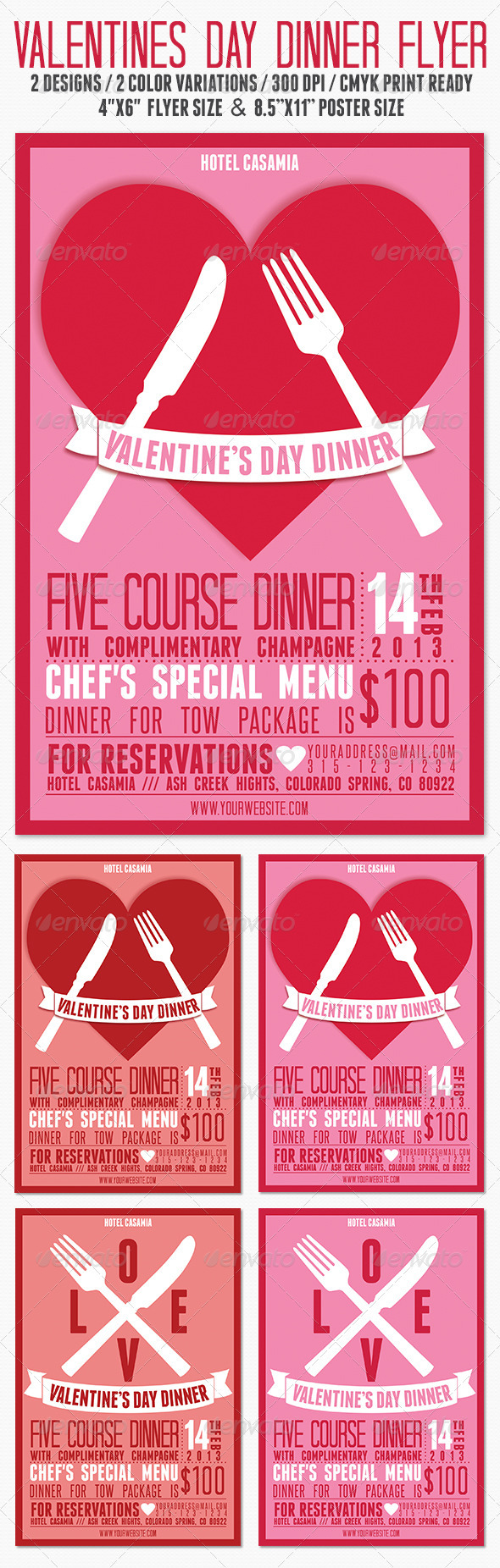 Valentines Day Dinner /  Party Flyer - Clubs & Parties Events