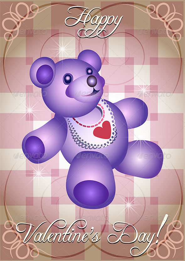 GraphicRiver Greeting Card with Blue Teddy Bear 3925642
