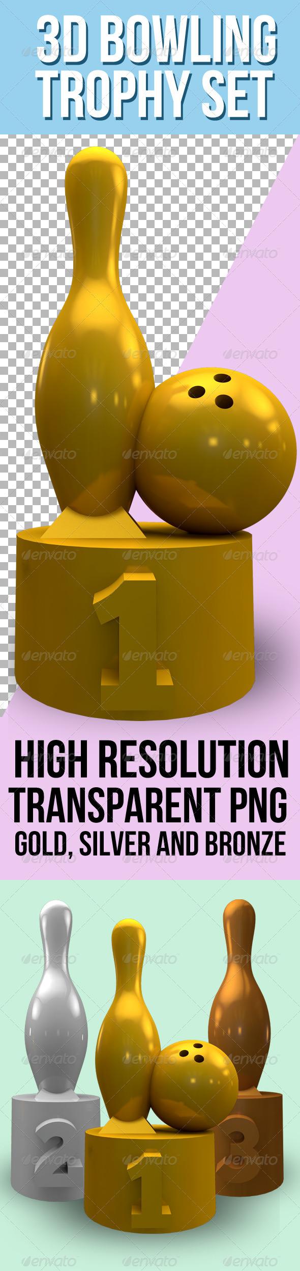 GraphicRiver 3D Bowling Trophy Set 3925743