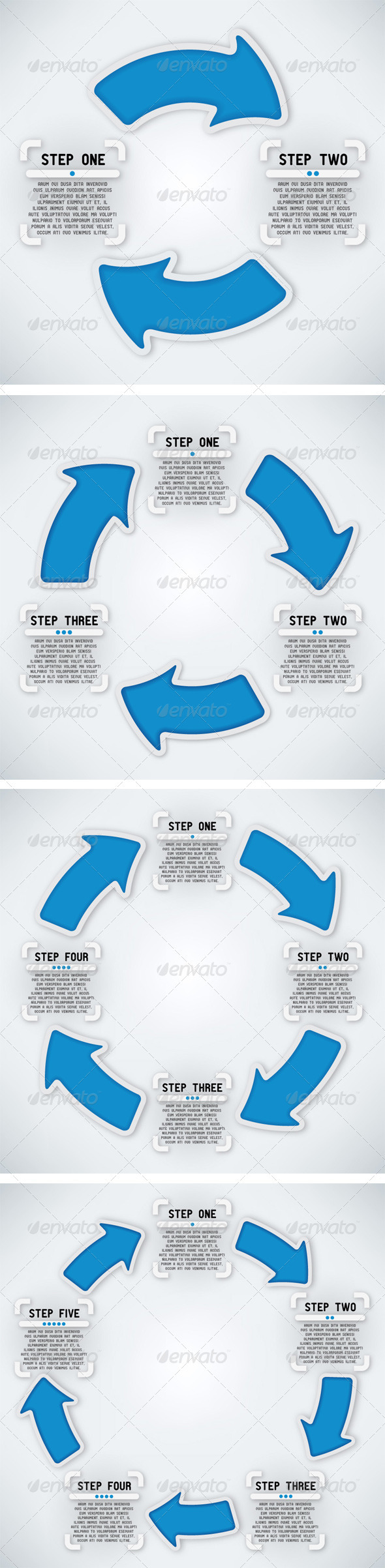 GraphicRiver Circular Arrows Two Three Four and Five Steps 3925826