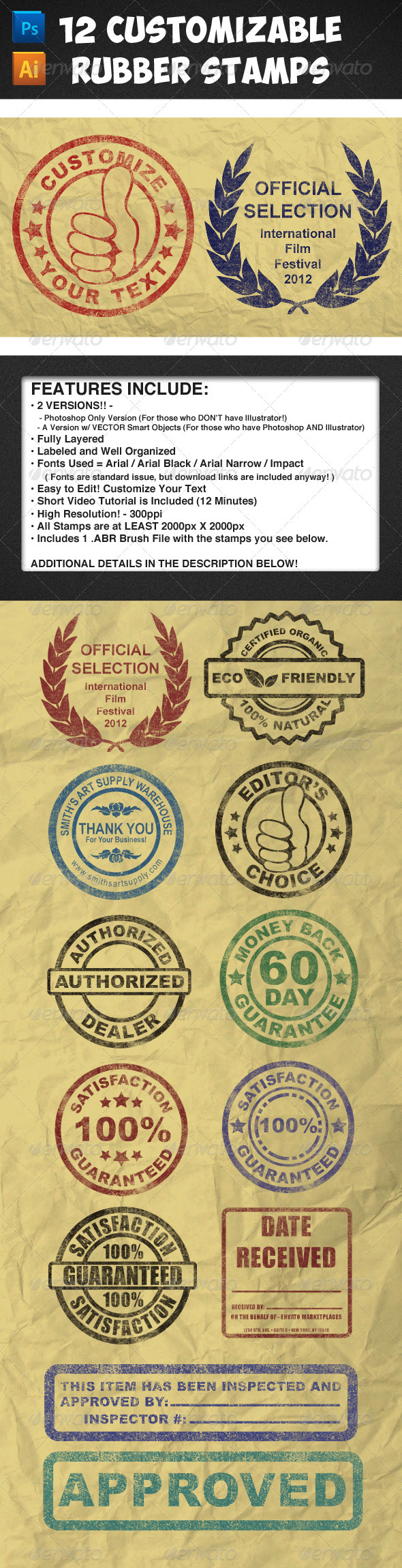 GraphicRiver 12 Customizable Rubber Stamps Vol 1 3838059