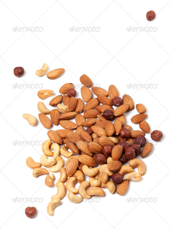 Roasted cashews, hazelnuts and almonds nuts - Stock Photo - Images