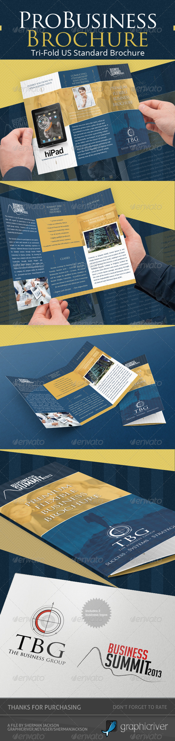 Pro Business Trifold Brochure PSD Template - Corporate Brochures
