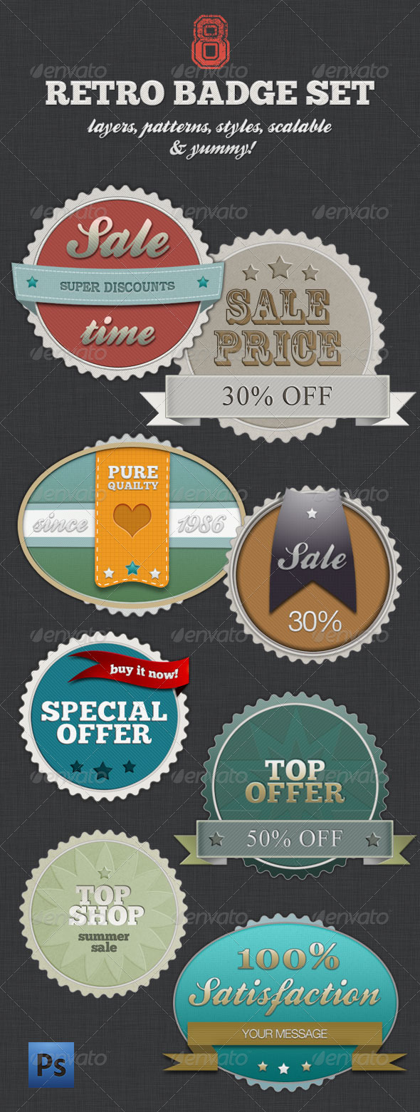 Retro Badge Set - Vintage Shopping With Style - Badges & Stickers Web Elements
