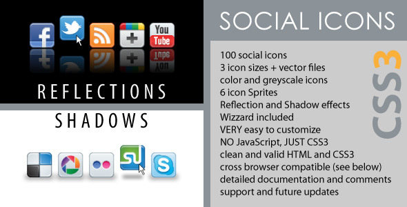CodeCanyon Social Icons CSS3 Reflections & Shadows 3926696