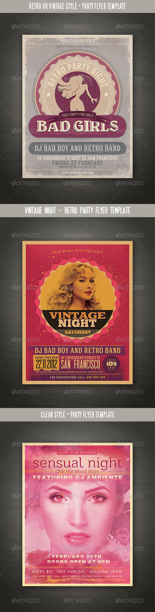 Retro Party Flyers Bundle - Events Flyers